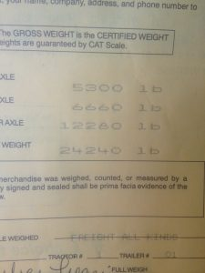 Weigh Slip - Both Truck and Trailer