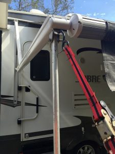 Awning support pole and mounting bracket (by OldCoot)