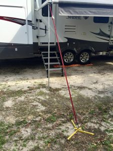 Power awning support pole