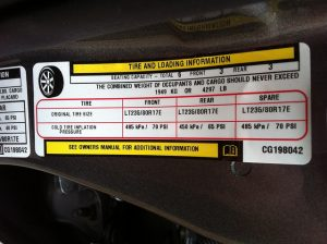 Cargo carrying capacity sticker