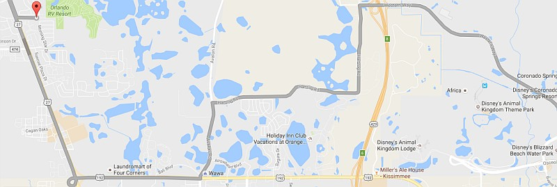 Route from TT Orlando to Disney World