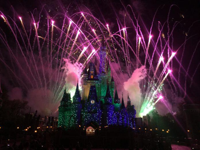 Fireworks over Cinderella's Castle at Disney World