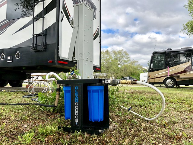 Clearsource RV Water Filter System with RVs in the background
