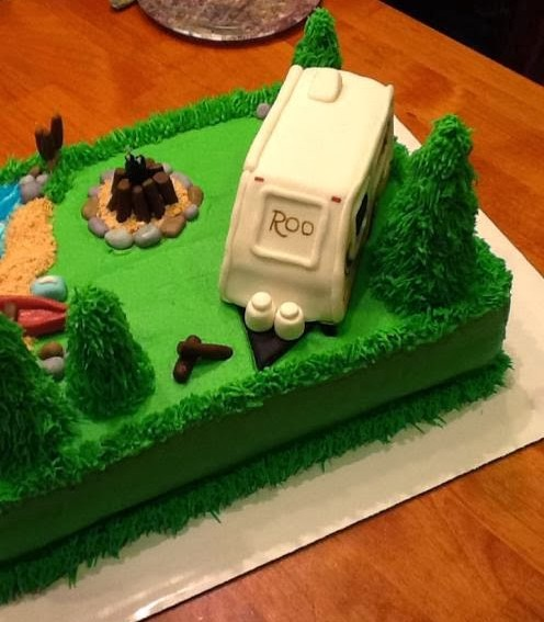 Awe Inspiring Camping Themed Birthday Cake Roo 233S Learn To Rv Personalised Birthday Cards Cominlily Jamesorg