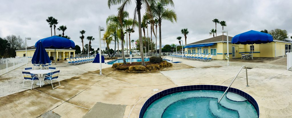 Pool area at Lake Magic RV Park in Clermont FL