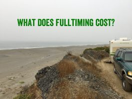 "RV boondocking/parked on the California coast overlooking the ocean and says ""What does fulltiming cost?"""