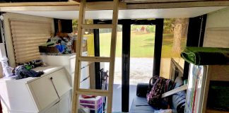 Kid's bedroom in the garage of a toy hauler camper