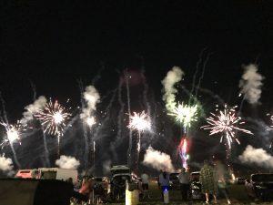 Dark sky with fireworks