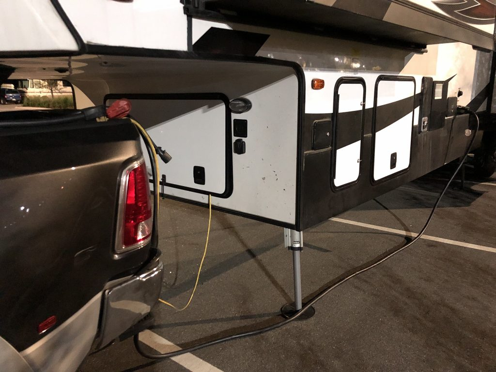 Camper plugged into inverter (in the front storage hatch)