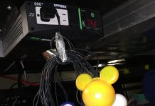 Inverter with Mickey Mouse Christmas lights plugged into it